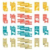 Sistema de las etiquetas para la comida Ilustración del Vector