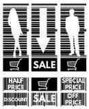 Sistema de las etiquetas para las ventas comunes en el fondo de la barra c Foto de archivo libre de regalías