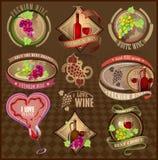 Sistema de las etiquetas retras para el vino Imagen de archivo