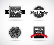 Sistema de las etiquetas simples hechas a mano de Black Friday Fotografía de archivo libre de regalías