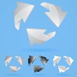 Sistema de las flechas 3D. en colores negros y grises Fotos de archivo libres de regalías