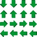 Sistema de las flechas 3d en diversas posiciones stock de ilustración
