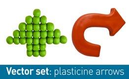 Sistema de las flechas del plasticine para su diseño Imagen de archivo libre de regalías