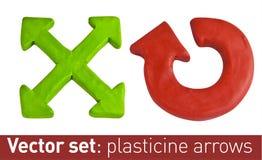 Sistema de las flechas del plasticine para su diseño Imágenes de archivo libres de regalías