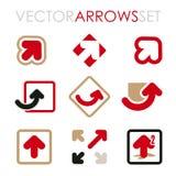 Sistema de las flechas planas del vector para calificar y los iconos Fotografía de archivo libre de regalías