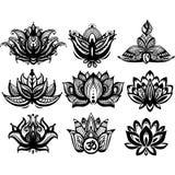 Sistema de las flores de Lotus ornamentales Fotografía de archivo libre de regalías