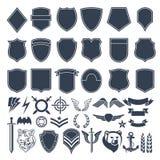 Sistema de las formas vacías para las insignias militares Símbolos del monocromo del ejército ilustración del vector