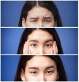 Sistema de las fotos de los ojos y de las cejas asiáticos de la muchacha con diversas emociones imagen de archivo