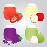 Sistema de las frutas Juice Glass en fondo Fotos de archivo libres de regalías