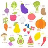 Sistema de las frutas, verduras, bayas con la firma Stock de ilustración