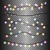 Sistema de las guirnaldas coloridas ligeras calientes de las lámparas, decoraciones festivas Luces de la Navidad que brillan inte Foto de archivo libre de regalías