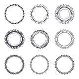 Sistema de las guirnaldas redondas, marcos Boda o invitación dibujada mano c Imágenes de archivo libres de regalías