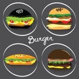 Sistema de las hamburguesas de los alimentos de preparación rápida, burritos Fotografía de archivo libre de regalías