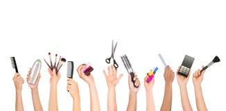 Sistema de las herramientas de tenencia de las manos para el cuidado del aspecto Fotos de archivo libres de regalías