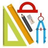 Sistema de las herramientas para bosquejar, línea, cuadrado, lápiz, borrador, compás, prolongador En el estilo de un diseño plano Fotos de archivo