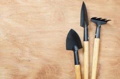 Sistema de las herramientas para cultivar un huerto en la tabla de madera imagen de archivo