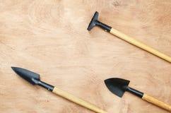 Sistema de las herramientas para cultivar un huerto en la tabla de madera imágenes de archivo libres de regalías