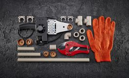 Sistema de las herramientas para la ingeniería sanitaria Fotos de archivo libres de regalías