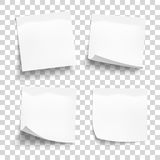 Sistema de las hojas blancas del documento de nota sobre fone transparente Imagenes de archivo