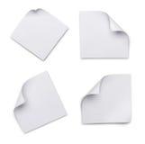 Sistema de las hojas de papel en blanco blancas para la correspondencia Fotos de archivo libres de regalías