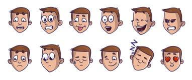 Sistema de las imágenes principales con diversas expresiones emocionales Caras de la historieta de Emoji que transportan sensacio stock de ilustración