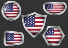 Sistema de las insignias de acero con la bandera de los E.E.U.U. ilustración del vector