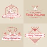 Sistema de las insignias de la decoración de la Navidad y del día de fiesta, banderas, sistema del vector de las etiquetas Fotos de archivo libres de regalías