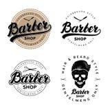 Sistema de las insignias, de los emblemas, de las etiquetas o del logotipo de la peluquería de caballeros del vintage Imágenes de archivo libres de regalías