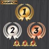 Sistema de las insignias del premio, iconos de la decoración del premio Imagen de archivo