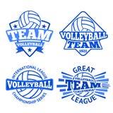 Sistema de las insignias del voleibol del vector, de las plantillas etc del logotipo Imagen de archivo
