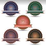 sistema de las insignias para la oferta especial de la venta Calidad del premio del descuento Foto de archivo