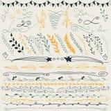 Sistema de las líneas dibujadas mano frontera, ramas y elementos elegantes del diseño Ilustración Puede estar el uso como decorac Imágenes de archivo libres de regalías