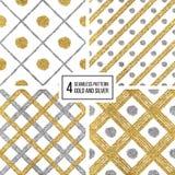 Sistema de las líneas silvern de oro del modelo inconsútil, puntos, jaula Foto de archivo
