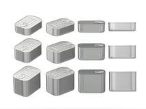 Sistema de las latas de aluminio del rectángulo en diversos tamaños, p que acorta Foto de archivo libre de regalías