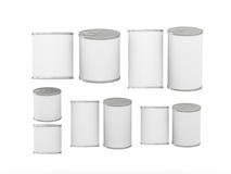 Sistema de las latas en blanco blancas en diversos tamaños, trayectoria de recortes incluyendo Foto de archivo libre de regalías