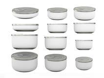 Sistema de las latas inferiores redondas blancas en diversos tamaños, PA que acorta Fotos de archivo