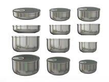 Sistema de las latas inferiores redondas de aluminio en diversos tamaños, acortando Imagen de archivo