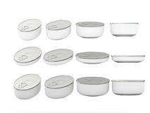 Sistema de las latas ovales inferiores redondas blancas en diversos tamaños, clippi Fotografía de archivo