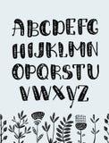 Sistema de las letras de ABC fuente gráfica dibujada mano colorida alfabeto tribal étnico del vector Imágenes de archivo libres de regalías