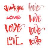 Sistema de las letras de amor de la acuarela Foto de archivo