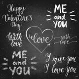 Sistema de las letras de la caligrafía de la tiza del día de tarjetas del día de San Valentín Imágenes de archivo libres de regalías