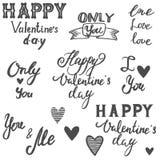 Sistema de las letras de la caligrafía del día de tarjetas del día de San Valentín Fotografía de archivo