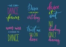 Sistema de las letras de la cita del estudio de la danza stock de ilustración