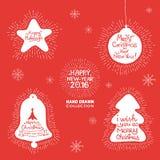 Sistema de las letras de la mano de la Feliz Año Nuevo Foto de archivo libre de regalías