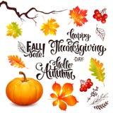 Sistema de las letras de la venta del otoño, día de la acción de gracias Imágenes de archivo libres de regalías