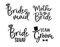 Sistema de las letras de la boda La mano negra puso letras a citas con los anillos de diamante para las tarjetas de felicitación, stock de ilustración