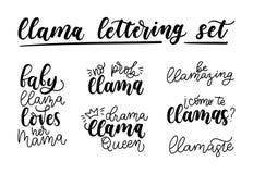 Sistema de las letras de la llama El sistema de la mano dibujado cita sobre isolat de la llama ilustración del vector