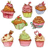 Sistema de las magdalenas dulces adornadas - elementos para el café Imagen de archivo