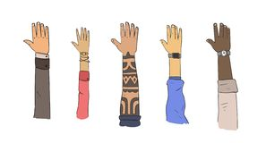 Sistema de las manos de diversas pertenencias étnicas y formas de vida Ejemplo plano del vector Aislado en el fondo blanco libre illustration