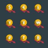 Sistema de las monedas y del gráfico de las finanzas, hundimiento de la moneda ilustración del vector